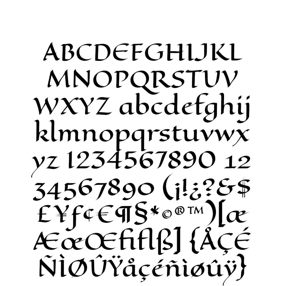 Eagle Lake Pro sample character set