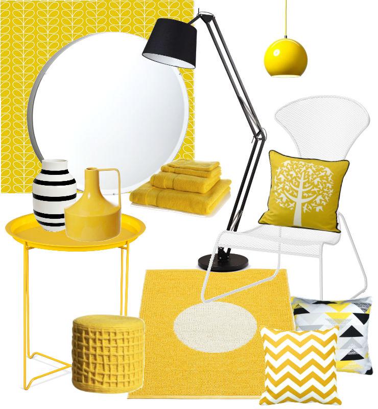 Interieurinspiratie Gele woon en badkameraccessoires