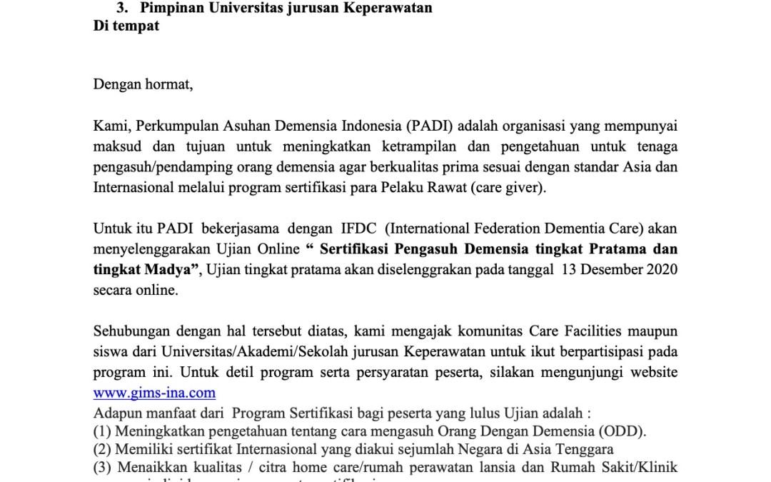 Lowongan Perkumpulan Asuhan Demensia Indonesia (PADI)