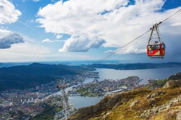 Kabelvogn på vei opp til Ulriken svever høyt og fritt. Byen i bakrunnen.