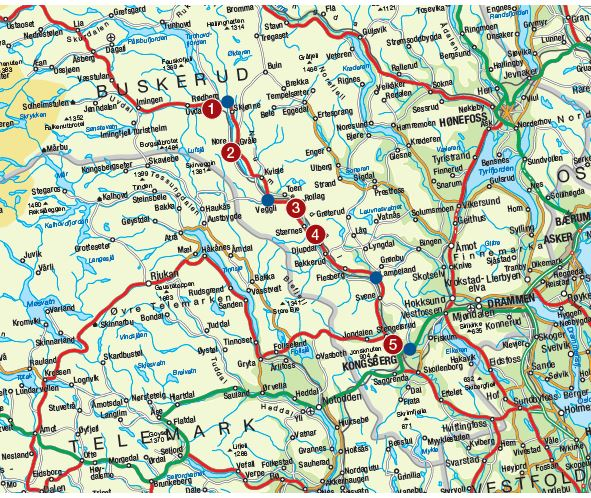 Kart over sykkelruta.
