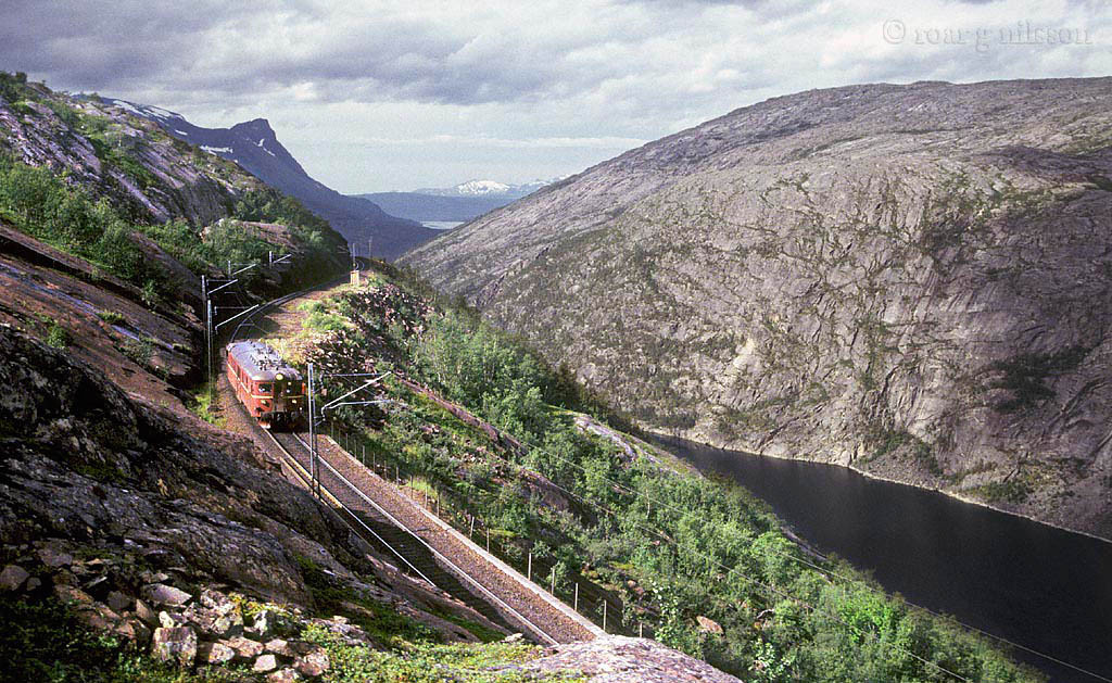 Bilde viser et tog på Ofotbanen gjennom vakkert fjellandskap.