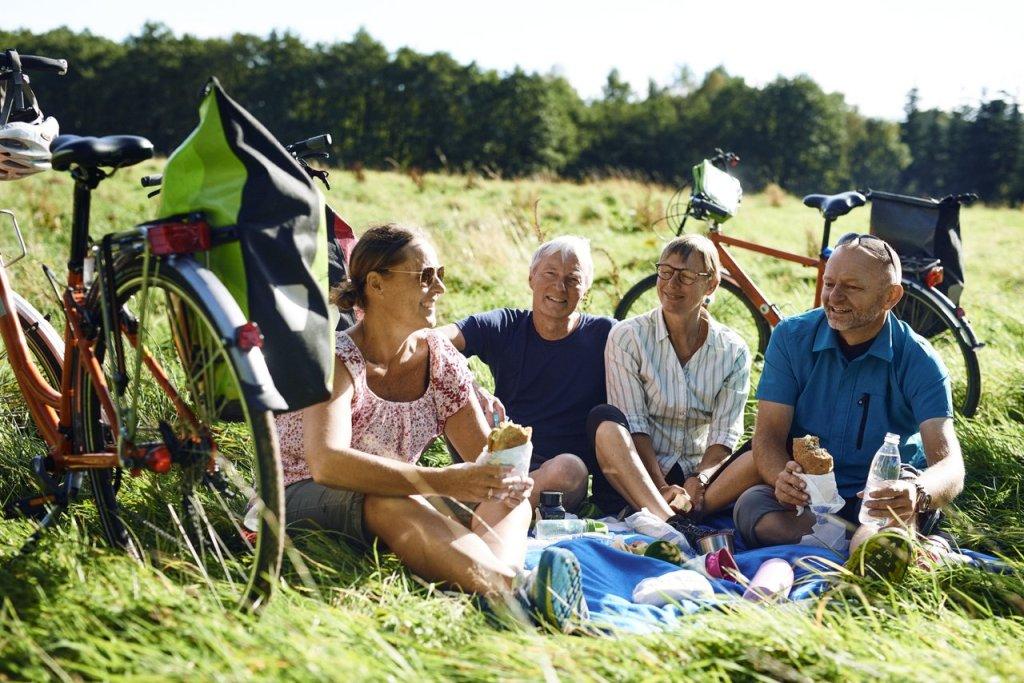 Fire mennesker, to menn og to damer tar en rast på en grønn eng. De er på sykkeltur i Danmark.