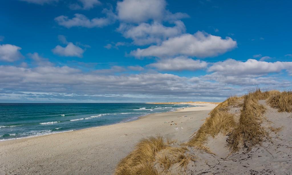 Orrestranda, en av Norges fineste sandstrender, lett adkomst fra Nasjonal turistveg Jæren. ©Foto: Helge Stikbakke / Statens vegvesen