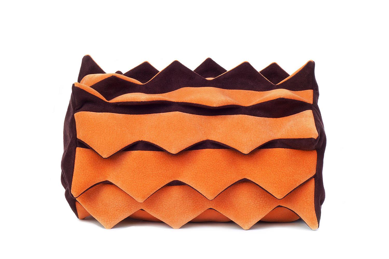 Stil-Stengel Textilkunst Tasche Reptil REPTIL orange braun