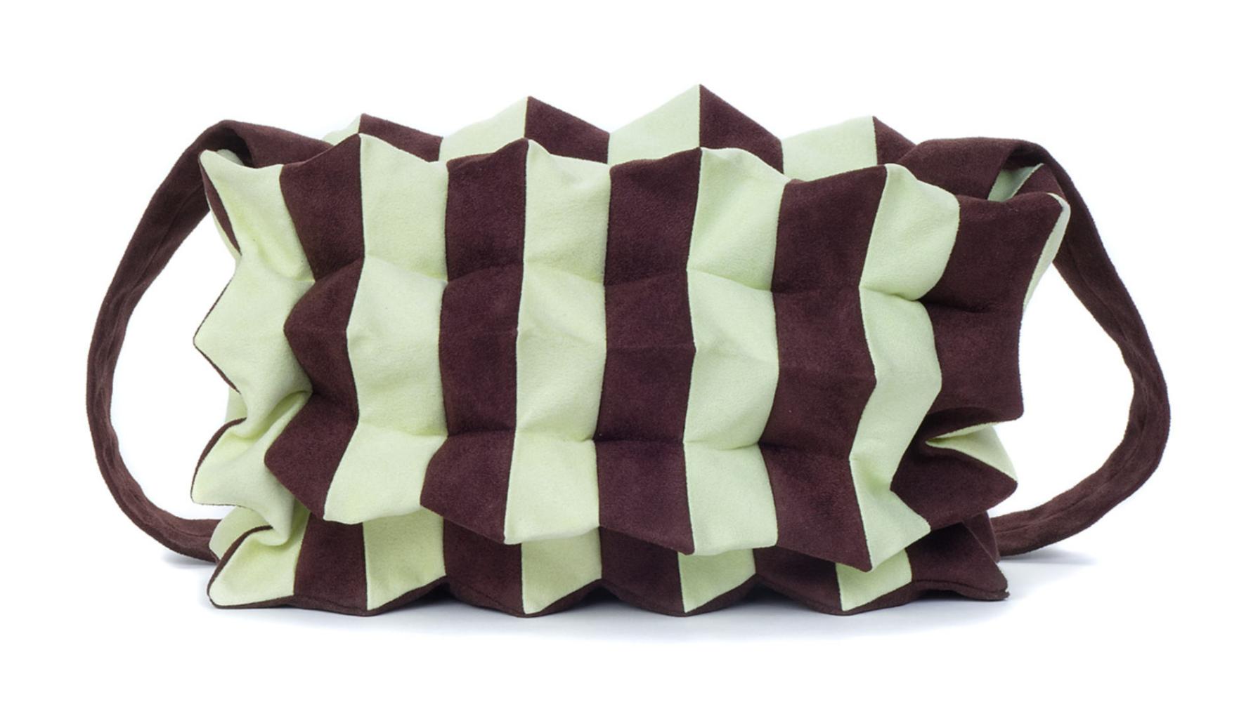 Stil-Stengel Textilkunst Tasche Ziehharmonika, mint/braun,