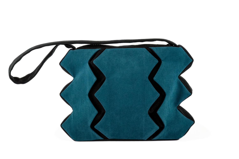 Stil-Stengel Textilkunst Tasche SUSANNE petrol schwarz