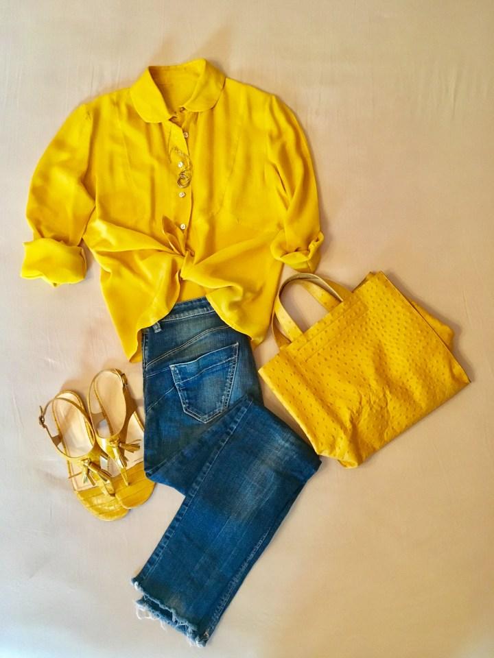 Die Farbe gelb im Sommer - Seidenbluse zu Jeans