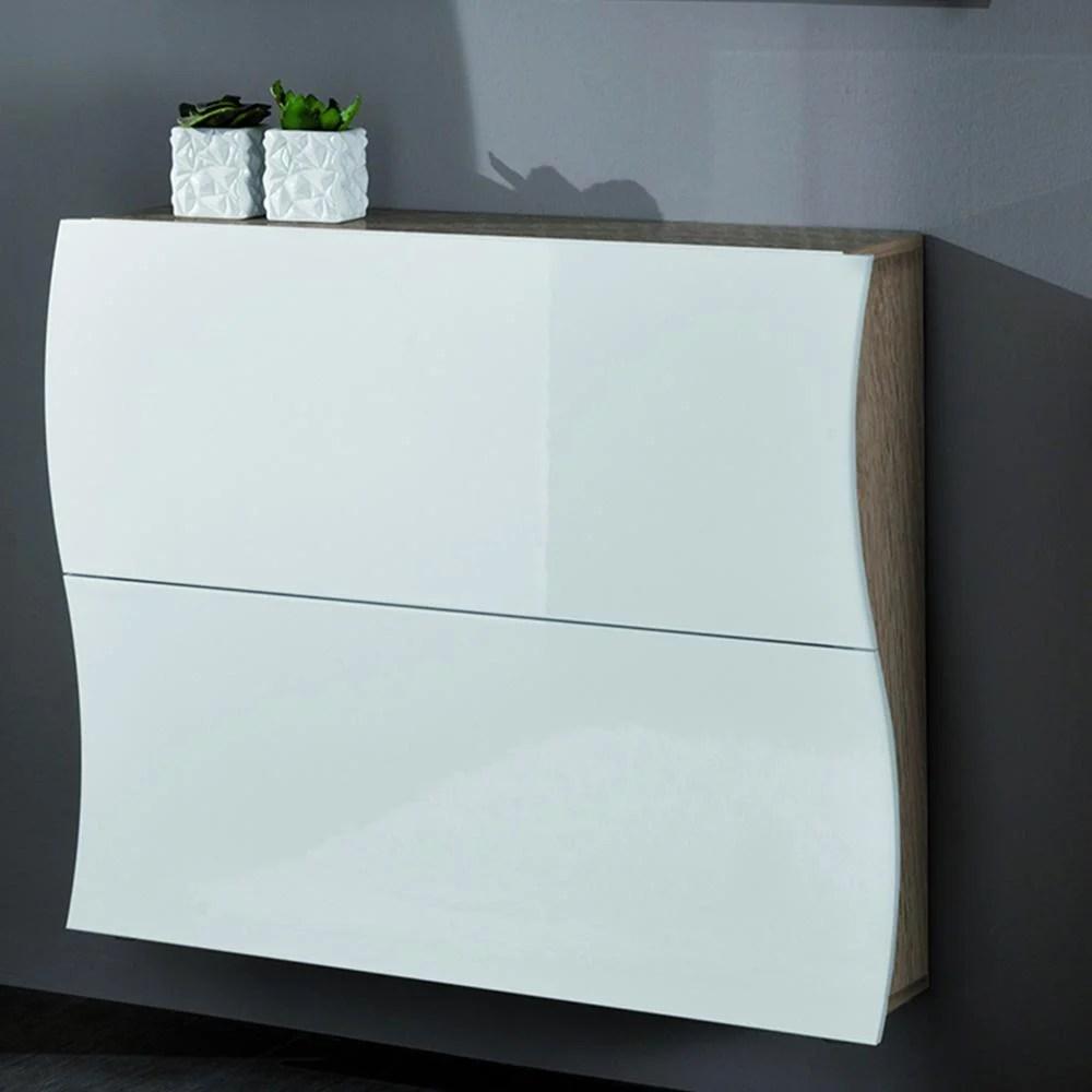 Scarpiera 2 ante 110x27xh82 cm in legno Laccato bianco