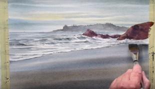 Come dipingere con l'acquerello la spiaggia, il mare, le onde. Il video - Stile Arte