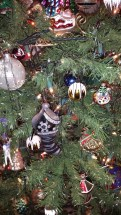 German glass, tinsel, ornaments, Christmas, stiletto, black, silver