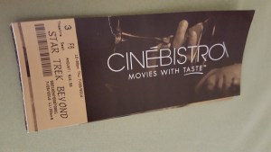 movie ticket, Star Trek, popcorn, wine, Paradise, cinema, Cinebistro, S. A. Young, experience