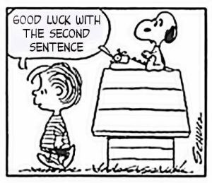 writing, writing life, Peanuts, Charles Schulz, S.A. Young, writer's block