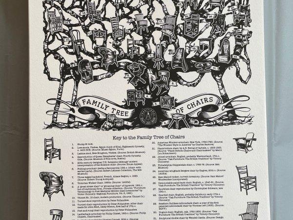 De verkoop van de 'Family Tree of Chairs'-poster gaat woensdag live
