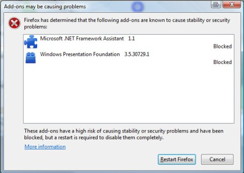 Firefox has determined that the following add-ons are known to cause security or stability problems