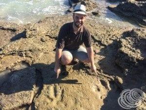 Matt with Dinosaur Footprints at Gantheaume Point