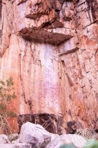 Ancient Aboriginal rock art between gorge 1 and 2 at Nitmiluk (Katherine) Gorge.