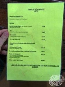 Pardoo Roadhouse all day menu