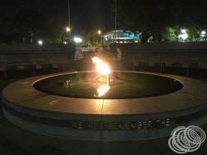 The Pool of Remembrance and Eternal Flame at Kings Park in front of the Whispering Wall