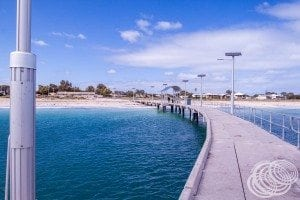 Looking back to the beach from the end of Jurien Jetty.