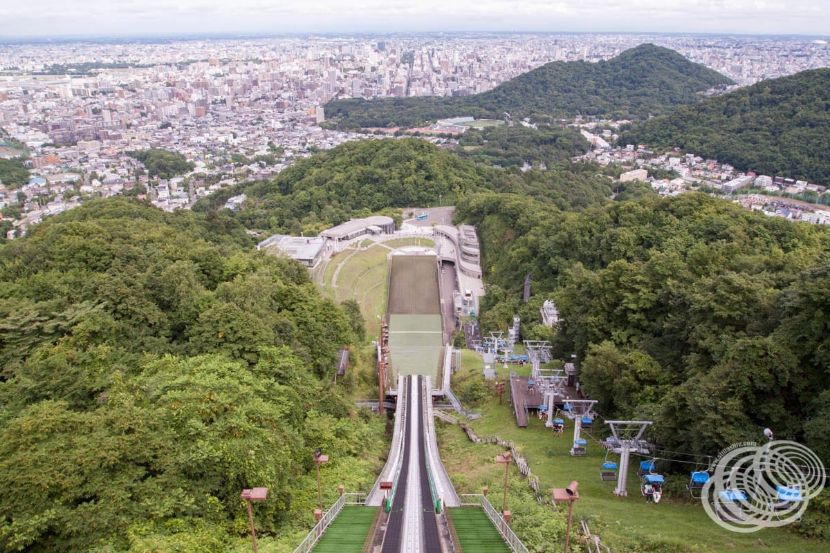Looking down the jump and over Sapporo from the level 3 Observation Deck.