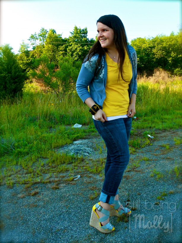 still being [molly] - Grey and Yellow Outfit and Wedges #Fashion
