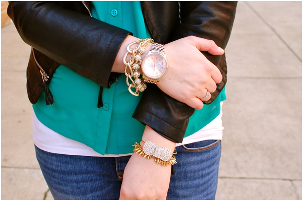still being molly: maternity style - emerald blouse, leather jacket, arm party