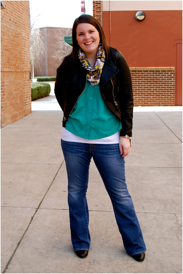 still being molly: maternity style - emerald blouse, leather jacket, ikat infinity scarf, Gap maternity jeans, wedges