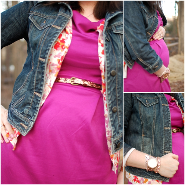 still being molly - maternity style: Target maternity dress, cardigan, denim jacket, and boots