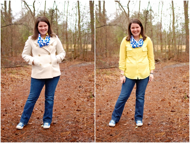 still being molly - maternity style: still being molly - maternity style: yellow OVI blouse, Gap jeans, Ooh Baby Designs cobalt chevron scarf, and cobalt chuck taylors