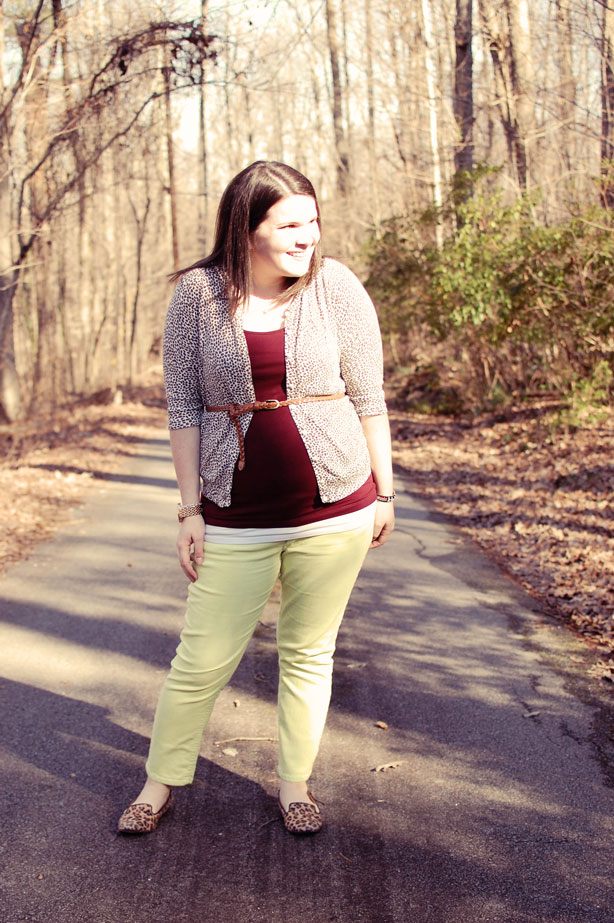 still being molly maternity style: lime jeans, leopard flats, belted leopard cardigan, oxblood tank