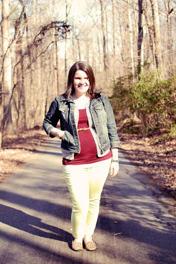 still being molly maternity style: lime jeans, leopard flats, belted leopard cardigan, oxblood tank, jean jacket