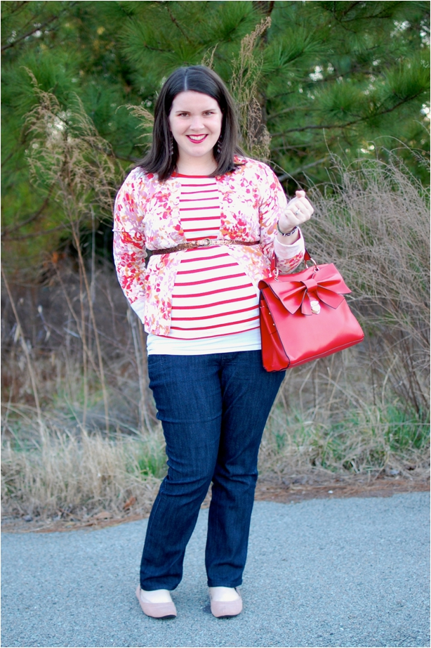 still being molly maternity style: belted floral cardigan, striped shirt, red bow bag, jeans, and flats