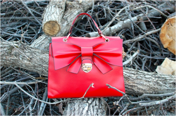 Oasap Red Bow Bag