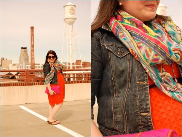 maternity style - orange eyelet dress, denim jacket, aztec print scarf