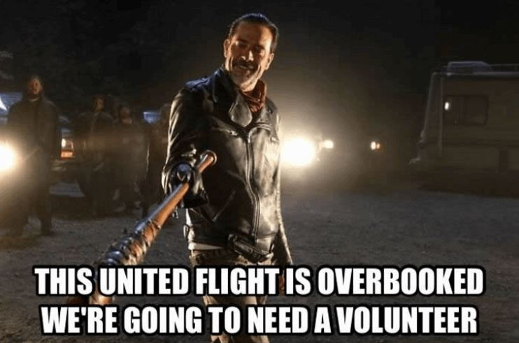 This United flight is overbooked. We're going to need a volunteer.