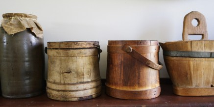 A shelf in the well-used kitchen.