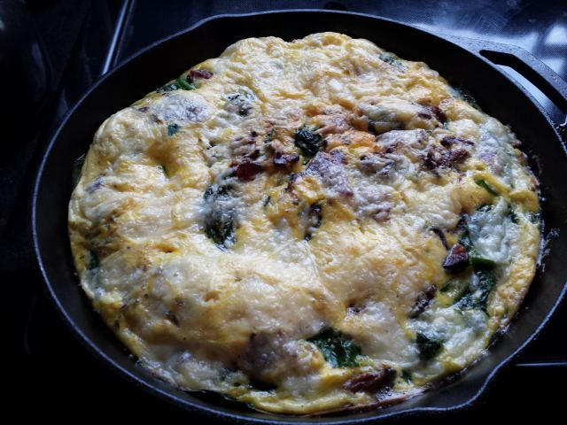 Piping hot frittata in my beautiful cast iron skillet.