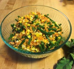 corn carrot hericot beans salad