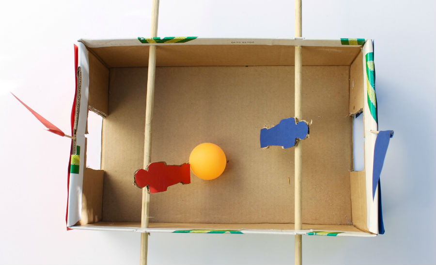 Crafts for boys: box fossball