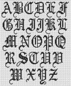 Cross Stitch Alphabet: Old English