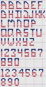 Cross Stitch Alphabet Patriotic