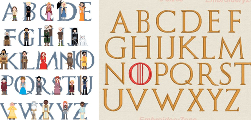 Cross Stitch Alphabet Game of Thrones