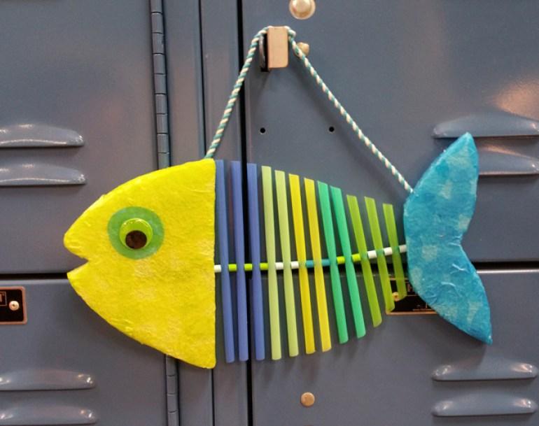 Tissue Paper Craft Straw Fish