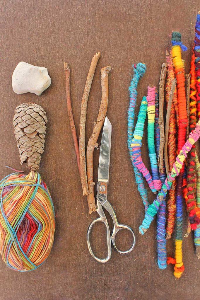 Wood Crafts for Kids Yarn Stick