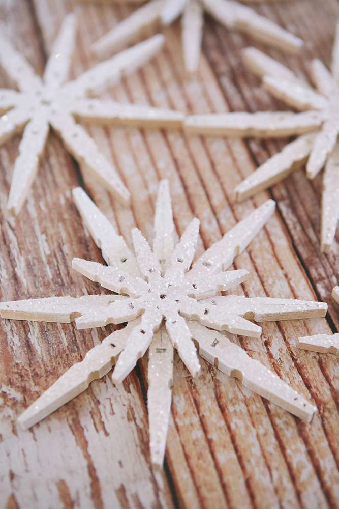 Crafts for Winter Clothespin Snowflakes