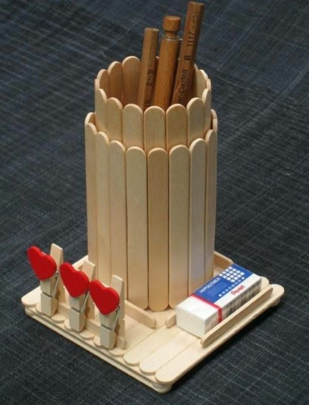 Popsicle Stick Crafts Pencil Holder