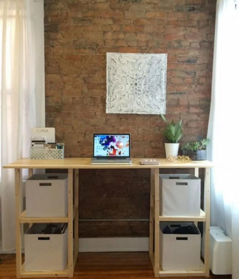diy office desk plants