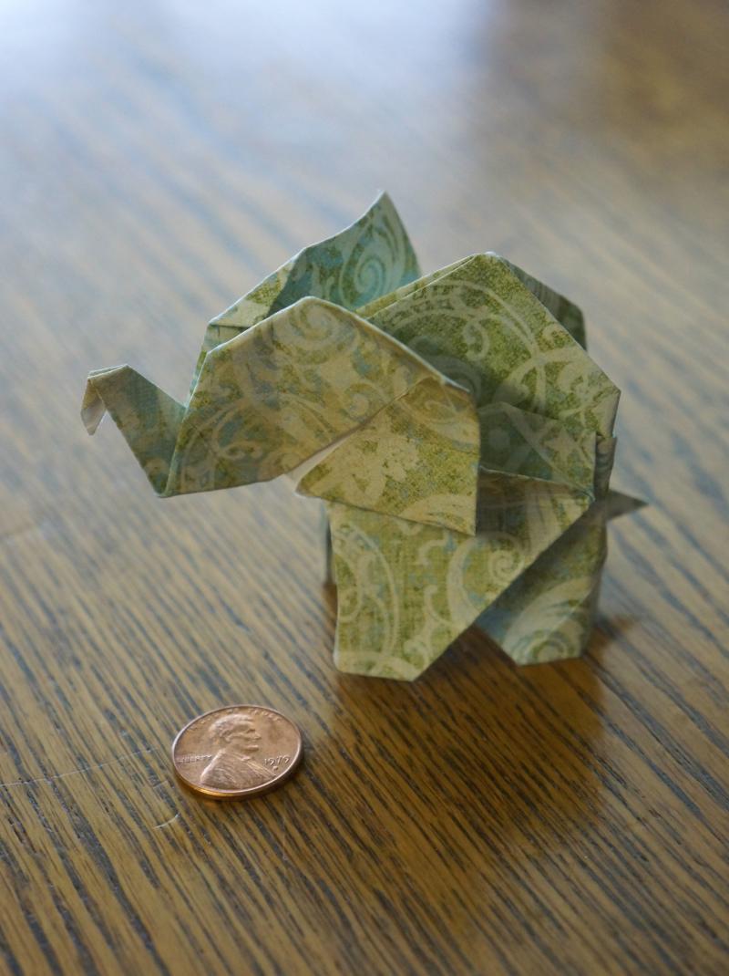 origami elephant charm