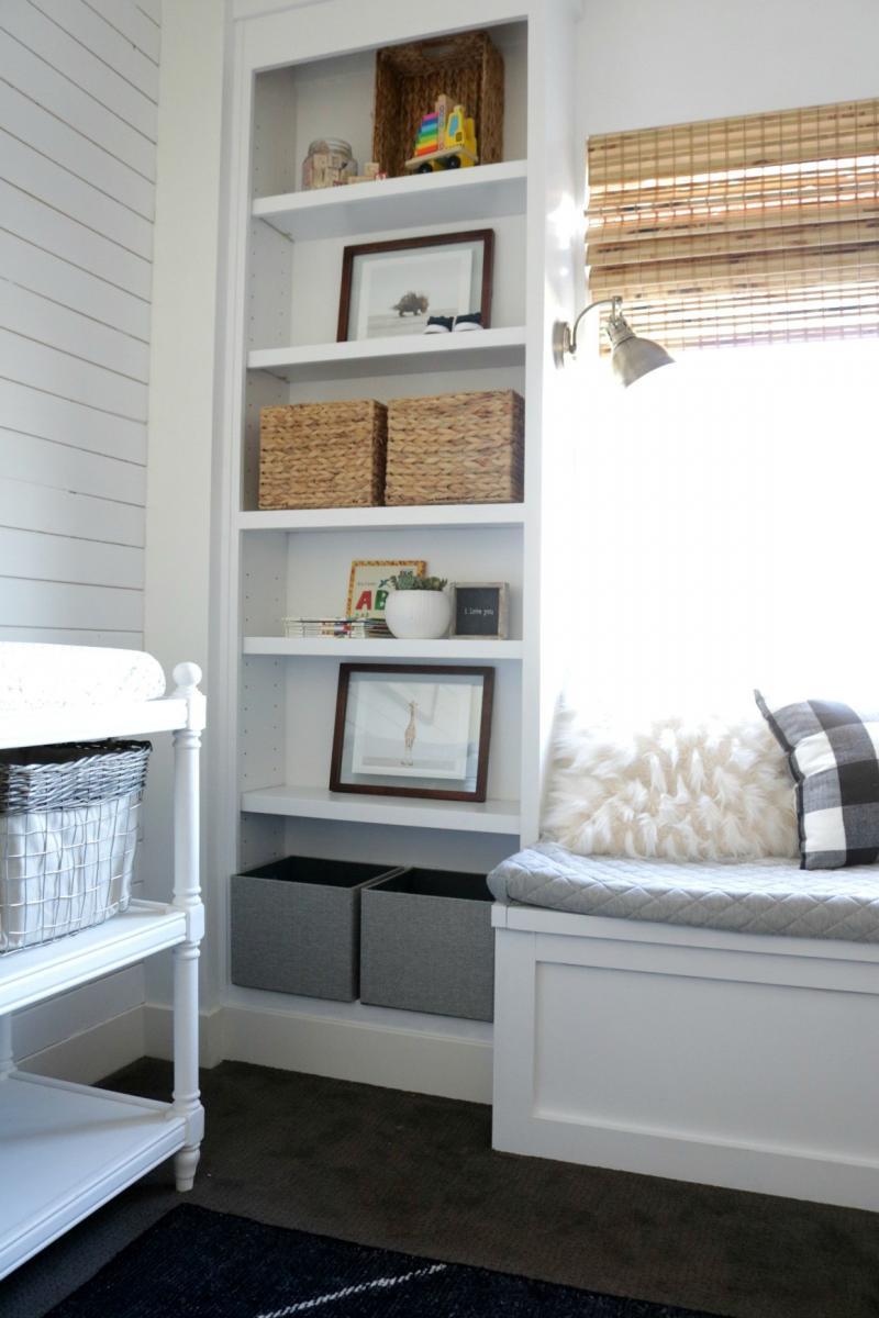 diy built in bookshelves with window seat